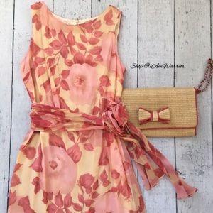 Talbots NWT silk chiffon belted floral dress
